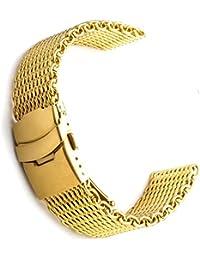 18mm tiburón malla milanesa acero inoxidable banda de reloj de oro
