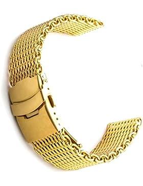 18mm Shark Mesh Milanese Edelstahl Uhrenarmband Gold