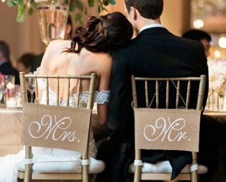 Keeka Vintage Mr & Mrs yute Bandera silla Decoración para Boda Fiesta