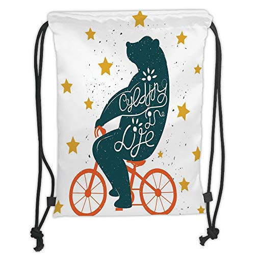Drawstring Backpacks Bags,Bicycle,Silhouette of A Biking Giant Bear with Distressed Effects and Stars Print,Blue Orange Yellow Soft Satin,5 Liter Capacity,Adjustable String Closure - Distressed Hobo