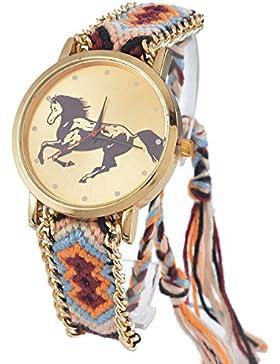 Souarts Damen Mehrfarbig Pferd Geflochten Armbanduhr Jugendliche Armreif Uhr mit Batterie Zifferblatt