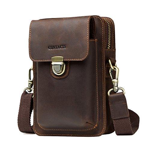 Contacts Crazy Horse Leder Crossbody Handytasche Hüfttasche Geldbörse Wallet Pocket Dunkler Kaffee -