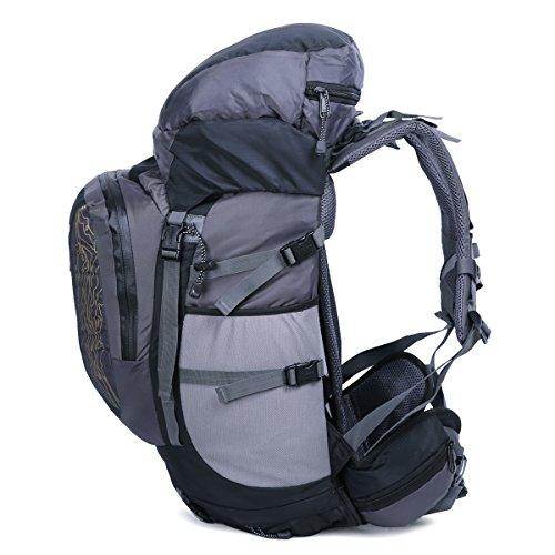 HWJIANFENG Zaini 60L Sportivi Unisex in Nylon Poliestere da Trekking Borse per Outdoor Campeggio Escursionismo Viaggi Nero