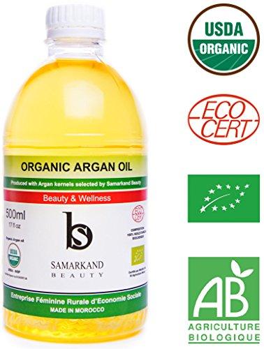 500 ml Huile d'Argan BIO 100% Pure Certifié Ecocert de Première Pression à Froid...