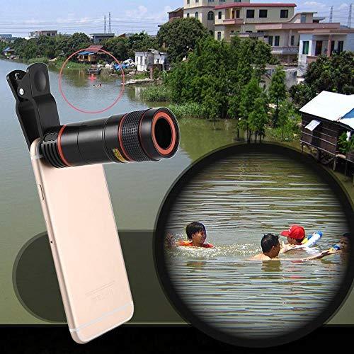 HUNDAN Handy-Kameraobjektiv,12-Fach Zoom Mobiles Teleskopobjektiv, langfokussiertes Smartphone-Kameraobjektiv für Smartphones