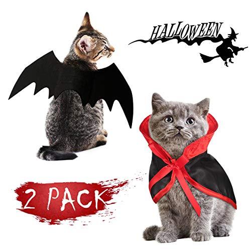 Gelma Halloween-Kostüm für Katzen, Umhang und Fledermausflügel, Flügel, Haustier-Kostüm für kleine Hunde und Katzen, Hundekostüm, Halloween, Party, Weihnachten, Urlaub, Cosplay, Party