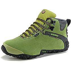 Onemix Mujeres tobillo-alto cálido calzado deportivo cómodo Impermeable botas de nieve de invierno Trekking Trail Senderismo botas Negro verde Size 38 EU
