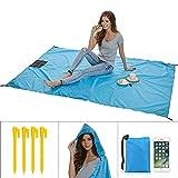 Uni-wert Stranddecke Picknickdecke Campingdecke Strandtuch 200 x 140 cm Ultraleicht Decke mit Tasche Wasserdicht und sandabweisend (Blau)