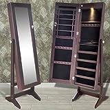 binzhoueushopping Schmuckschrank Braun mit Spiegel Standspiegel LED Spiegelschrank Stehend Ganzkörperspiegel 46 x 37 x 146 cm