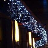 XSHIYQ Weihnachtsbeleuchtung Außendekoration Led Vorhang Eiszapfen Lichterketten Neue Jahr Hochzeit Girlande Licht 5 Mt Weiß