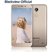 Blackview A10 - Smartphone Libre Android 7.0 (5.0'' HD IPS, 16GB ROM, 5.0MP+8.0MP Cámara, 2800mAh Batería, Quad Core 3G, Dual SIM, Huella Dactilar, Moviles Libres Oro