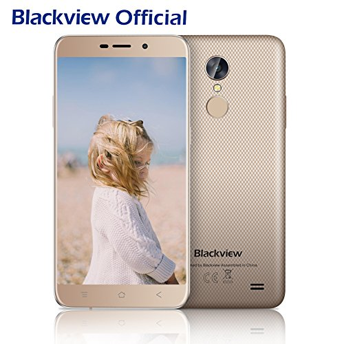 Günstiges Smartphone, Blackview A10 2GB RAM + ROM 16GB Dual Sim At 5.0 Zoll HD IPS Framework up Hype Andorid Smartphone, 5MP + 8MP Cameras Android 7.0 mit 2800 mAh Battery, Fingerabdruck Conclude by-Gold