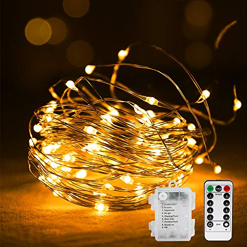 Vegena Led Lichterkette,10M 100 LED Lichterketten 8 Modi Lichter Batteriebetrieben Kupferdraht Wasserdicht IP44 mit Fernbedienung und Timer für Innen, Weihnachten, Außen, Party, Hochzeit, usw Warmweiß