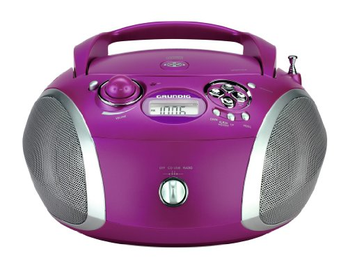 Grundig RCD 1445 Radio (USB 2.0) mit CD/-MP3/-WMA Wiedergabe lila/silber