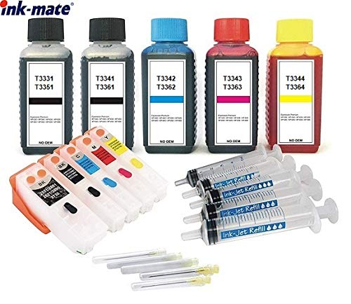 Cartucce ricaricabili come T3331 + T3341, T3342, T3343, T3344 + 5 x 100 ml inchiostro di marca per Expression Premium XP-530, XP-540, XP-630, XP-635, XP-640, XP-645, XP-830, XP-900, XP-7100