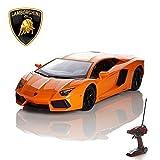 CMJ RC Voitures Lamborghini Télécommande avec Fonctionne Lumières - électrique télécommandé Aventador Car, Produit Officiel 1:14 Jouet en Orange 2.4GHz Course 2 Ensemble