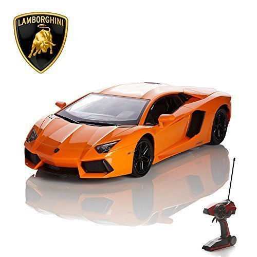 CMJ RC Cars Lamborghini Remote Control Car with Working Lights - Electric Radio Control Lamborghini Aventador RC Car, Official Licensed 1:14 Lamborghini Toy Car in Orange 2.4GHz Race 2 Cars Together! preisvergleich