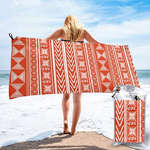 popluck Boho Mud Cloth (Coral) Microfiber Quick Dry Super Soft Ultra Light Travel Portable Towel for Travel Beach Camping Gym Swimming Sporting -