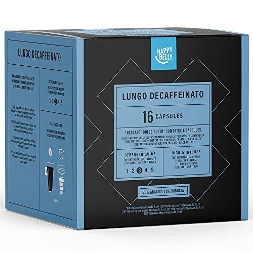 Marca Amazon- Happy Belly - Cápsulas de café (descafeinado) Lungo Decaffeinato compatibles con NESCAFÉ* DOLCE GUSTO*, UTZ, 3x16 cápsulas (48 porciones)