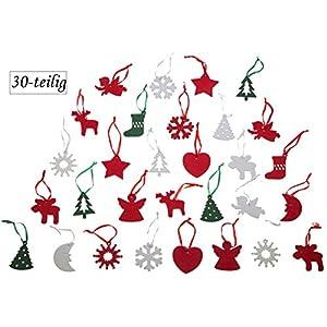 Weihnachtsbaumschmuck Deko-Anhänger aus Filz (Polyester), 30-teilig ☆ 50x50x3mm, verschiedene Advent Motive mit Schlaufe in Rot, Grün und Weiß ☆