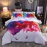 La couverture de couleur de la couleur art aquarelle encre de la couverture de la couverture de trois pièces. (Color : White-x2, Size : 220×240)