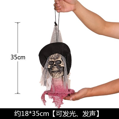 SunBai Halloween Dekorationen terroristischen dekoriert virale Requisiten hängenden Schmuck Licht emittierende hörbare Stimme Hexe hängen Kito, Akki Kopf