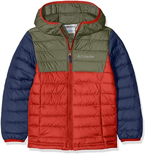 Columbia Wasserabweisende Jacke für Jungen, Powder Lite Hooded Insulated Jacket, Polyester, rot (red spark/cypress), Gr. XS, EB0013 - Columbia Winter Herren Jacken