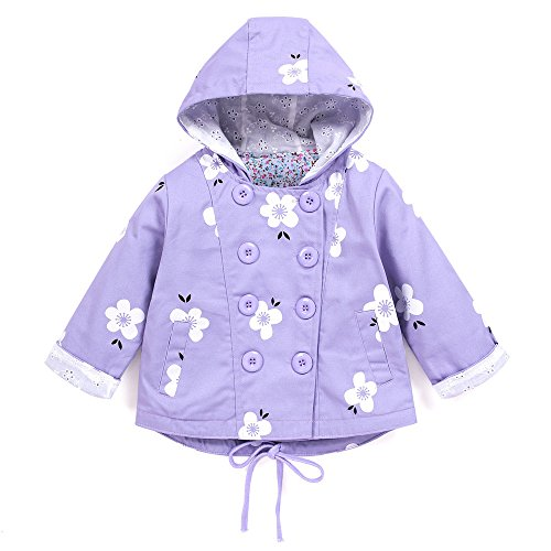 Zerototens Spring Summer Coat For Girls Boys 1-6 Years Old,Toddler Baby Girls Double-Breasted Printed Hooded Cardigan Trench Coat Jacket Outfit Clothes (1-2 Years Old, Purple)
