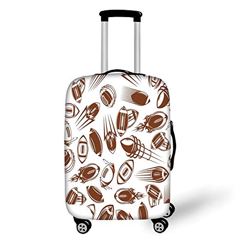 Travel Luggage Cover Suitcase Protector,Football,Retro Comicbook Style Flying Spinning Balls with Motion Trails Sports Competition Decorative,Brown White,for Travel M (Beach Ball Zoll 24)