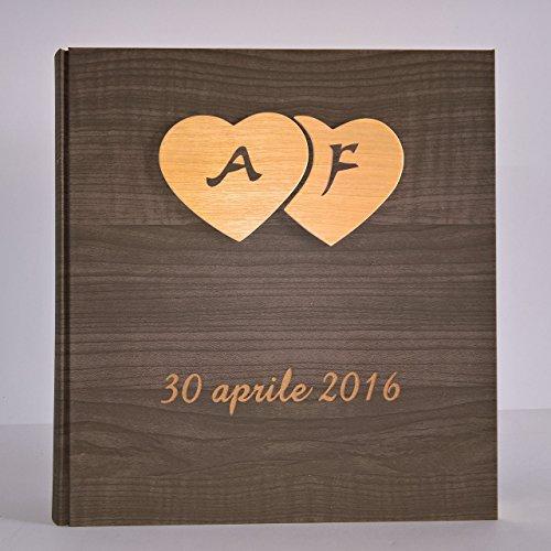 Album fotografico innamorati carta effetto legno scuro + cuori legno e iniziali e data personalizzabile
