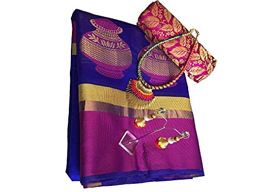 Sarees for Wedding / Party / Festival / Traditional Beautiful Cotton Designer Wear Tusser Blue Pink Saree With Blouse New Collection Now Available On Sale