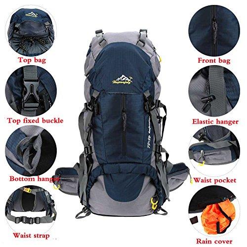 Imagen de  impermeable 50l  con cubierta de lluvia para deportes al aire libre senderismo trekking camping viajes montañismo escalada aventura azul oscuro  alternativa