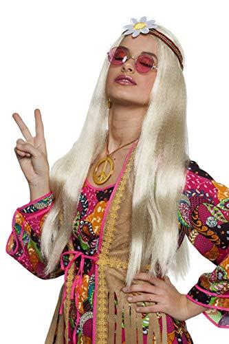 Jannes Perücke Hippie Blond Damen Stirnband Blume extra lang Damenperücke
