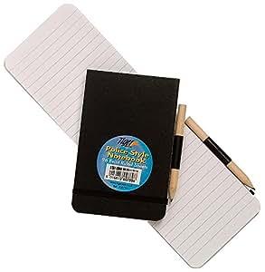12x Style Police Carnet A6+ Crayon Bloc-notes Feuilles lignées Reporters juge-arbitre