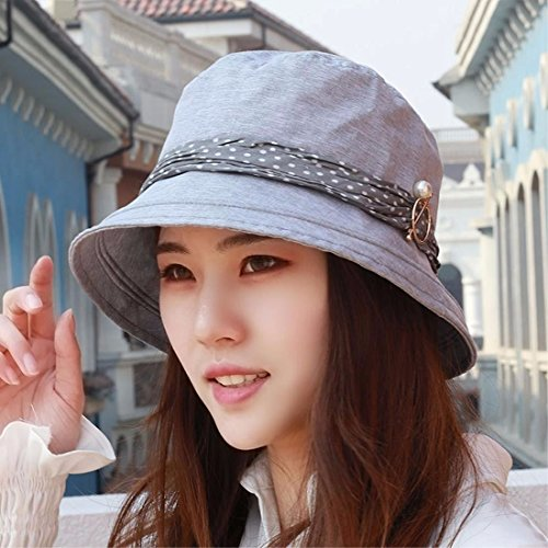 LIUXINDA-MZ Hat, female, pure color sunshade, sun hat, flat top fisherman hat, summer sunscreen hat, Beach Hat, outdoor hat,Grey/A
