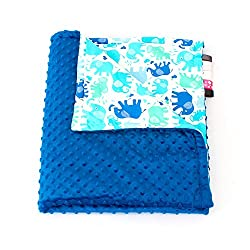 75cm x 100cm, Royal blue + Elephants: 1buy3 MINKY lined baby blanket |plush blanket |play rug |cuddle blanket 75 x 100 cm (Royal blue + Elephants)