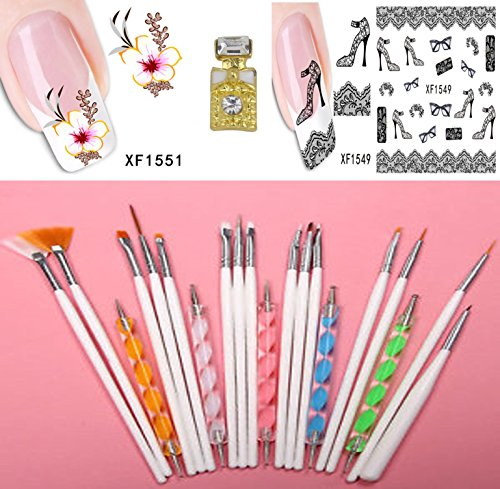 BELLA COQUI NET Kit 20 pinceaux Dotting Tool pour nail art ongle + 2 FEUILLES STICKERS + 1 PETIT STRASS MOTIF PETITE BOUTEILLE