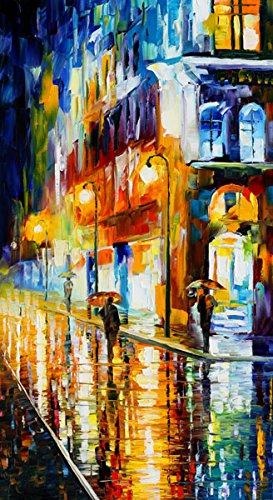 Van Eyck di pioggia notte paesaggio Colorful Palette Coltello Olio