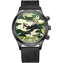 YPS Men Camouflage Dial Fashion Quartz Multifunction Sub Dials Calendar Wristwatch WTH5347