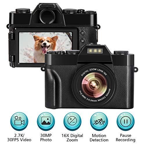 fotocamera digitale macchina fotografica per vlogging videocamera 2.7k 30fps 30.0mp 3.0 pollici flip screen mini fotocamera digitale compatta con zoom digitale 16x