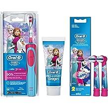 Oral-B Stages Power Advance Power Kids 900 TX  - Conjunto de cepillo de dientes eléctrico para niños (incluye 2 cabezales de recambio + 75ml Oral-B PRO de Pro-Expert Stages), diseño de Frozen