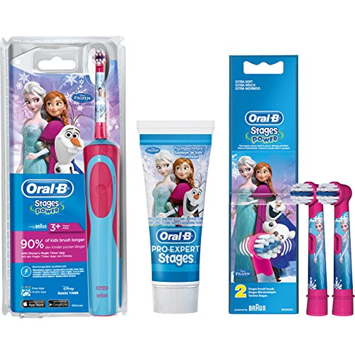 SPAR-SET: 1 Braun Oral-B Stages Power AdvancePower Kids 900 TX elektrische Akku-Zahnbuerste Kinder 3+ J. D12.513.K Disney Frozen Die Eiskönigin + 2er Stages Aufsteckbürsten + 75 ml Oral-B PRO-EXPERT Stages Kinderzahncreme