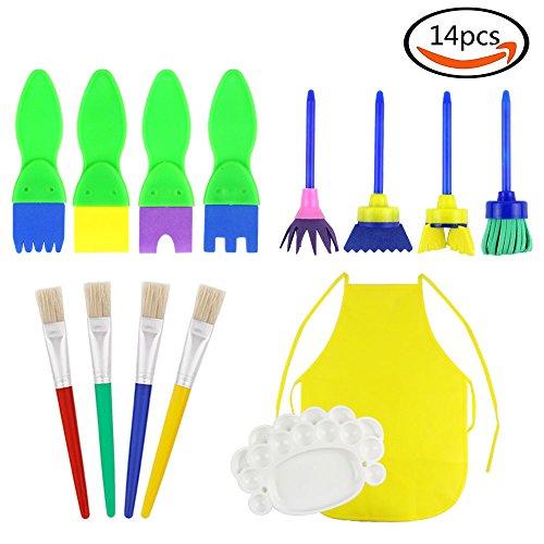JPSOR 14 Stück Kinder Schwamm Malen Werkzeug Set für Vorschule Kinders Kunstlehre und DIY