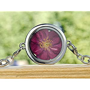 Rosen Armband echte Blüten Medaillon Rosenblüte