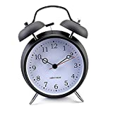 Nostalgischer Glockenwecker Elektronischer Wecker Doppelglocke Alarm Uhr (Schwarz)