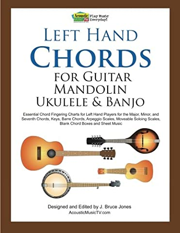 Left Hand Chords for Guitar, Mandolin, Ukulele and Banjo: Essential Chord Fingering Charts for Left Hand Players for the Major, Minor, and Seventh ... Scales, Blank Chord Boxes and Sheet