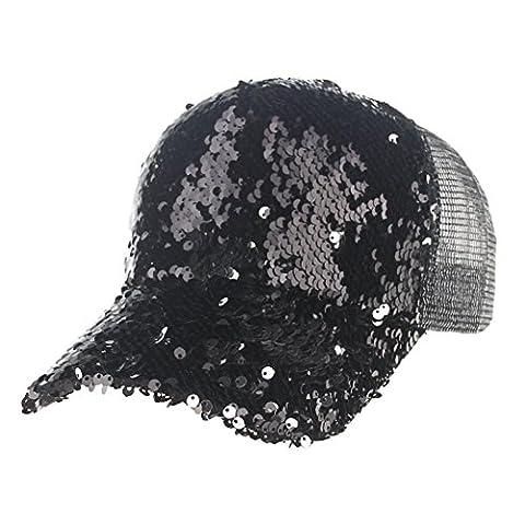 Vovotrade® ❃❃Paillettes Unisexe Casquette de Baseball Chapeau en Molleton Capuchon de Baseball Femme Homme (Noir)