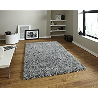 AQS INTERNATIONAL Quality Soft Luxury Plain Shaggy Rug 5cm Thick Soft Touch Pile Plain Silver Shaggy Area Rugs Non Shed Home Bedrooms Living Rooms Bedside (120 x 170cm (4ft x 5ft 6in))