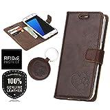 SURAZO RFID Hundeherz - Premium Vintage Ledertasche Schutzhülle Wallet Case aus Echtesleder Farbe Western Dunkelbraun für Lenovo/Motorola Moto G5 (5,00 Zoll)