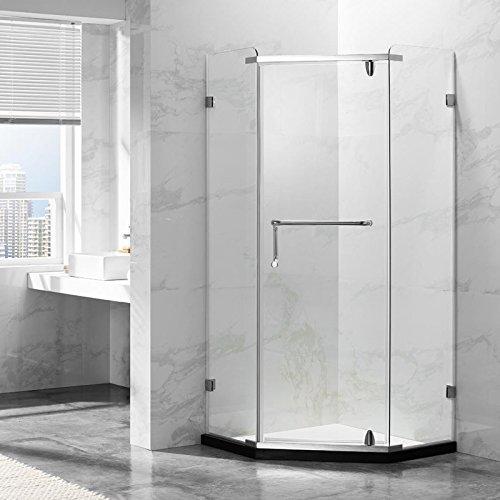 Deluxeshower Duschkabine 90 x 90 x 195 cm, für Eck-Dusche, 8mm Sicherheitsglas mit Schwenktür, hochwertiges Edelstahl-Profil, ohne Duschtasse - SENTIRE